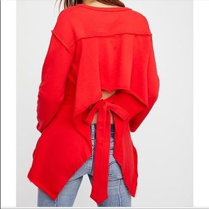 Free people beach red back tie sweater open back
